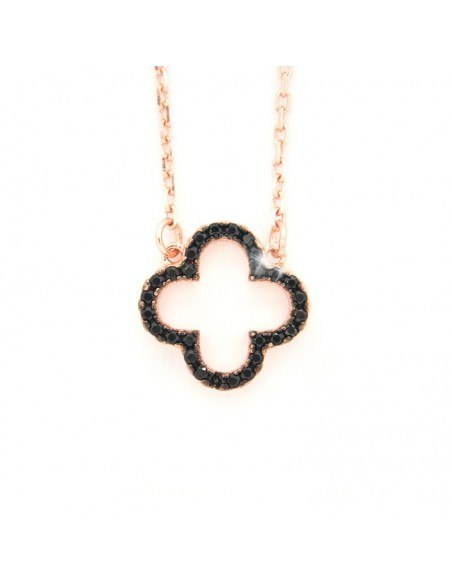 Necklace with cloverleaf pendant made from rose gold plated silver and black rhinestones H20140557
