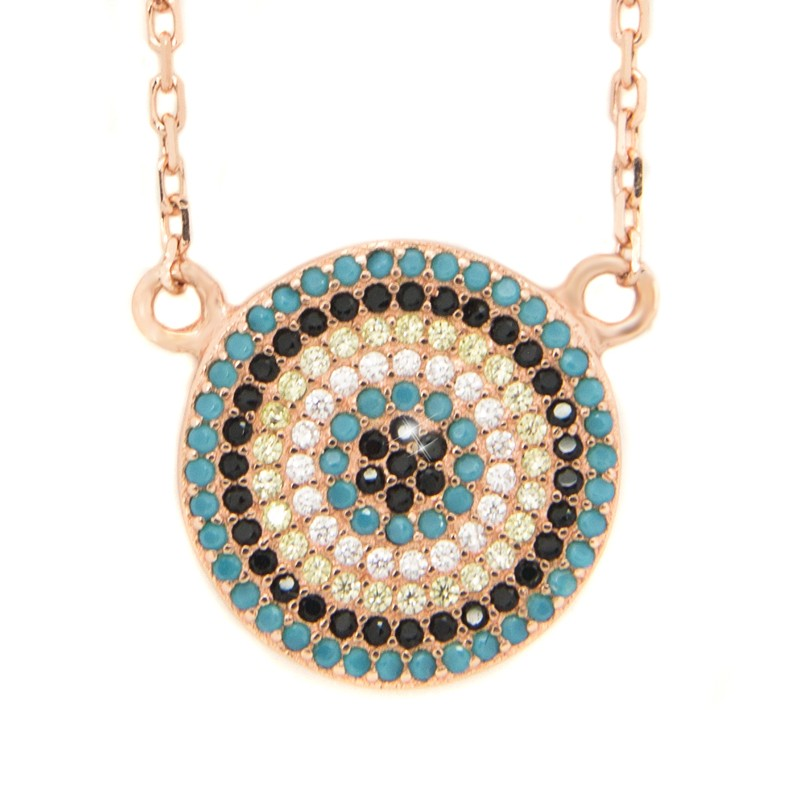 Necklace with big nazar pendant from rose gold silver h20140793 mozeypictures Images