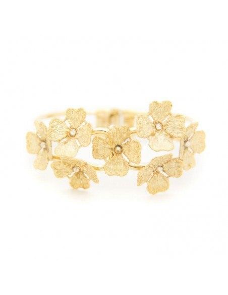 Greek Designer bangle bracelet gold FLOWERS