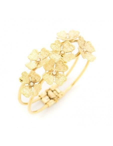 Greek Designer bangle bracelet gold FLOWERS 3