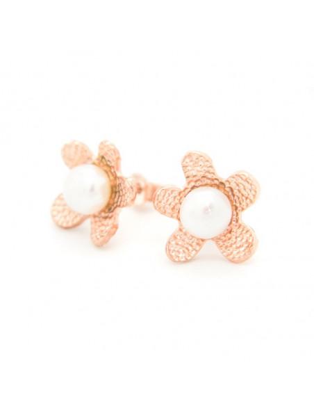 Σκουλαρίκια μαργαριτάρια κουμπωτά από ασήμι 925 ροζ χρυσό DEMI 3