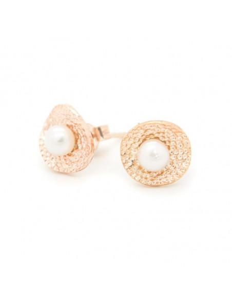Ασημένια Σκουλαρίκια μαργαριτάρια ροζ χρυσό SALIR 3