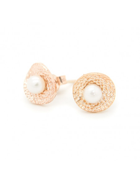 Silber Ohrstecker mit Perlen rosegold SALIR 3