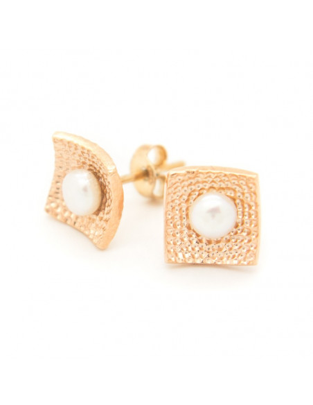 Silver stud pearl earrings rose gold SIRALI 3