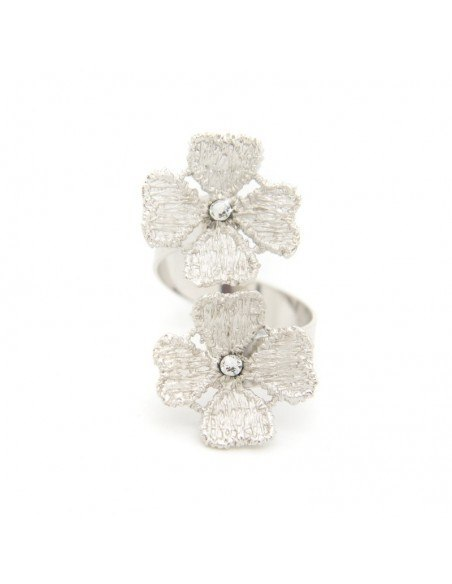 Δαχτυλίδι από μπρούτζο ασημί FLOWERS