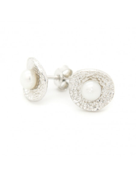 Stud pearl earrings of sterling silver SORLEI 3
