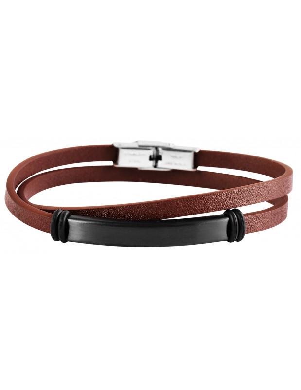 Men's leather bracelet brown PROF