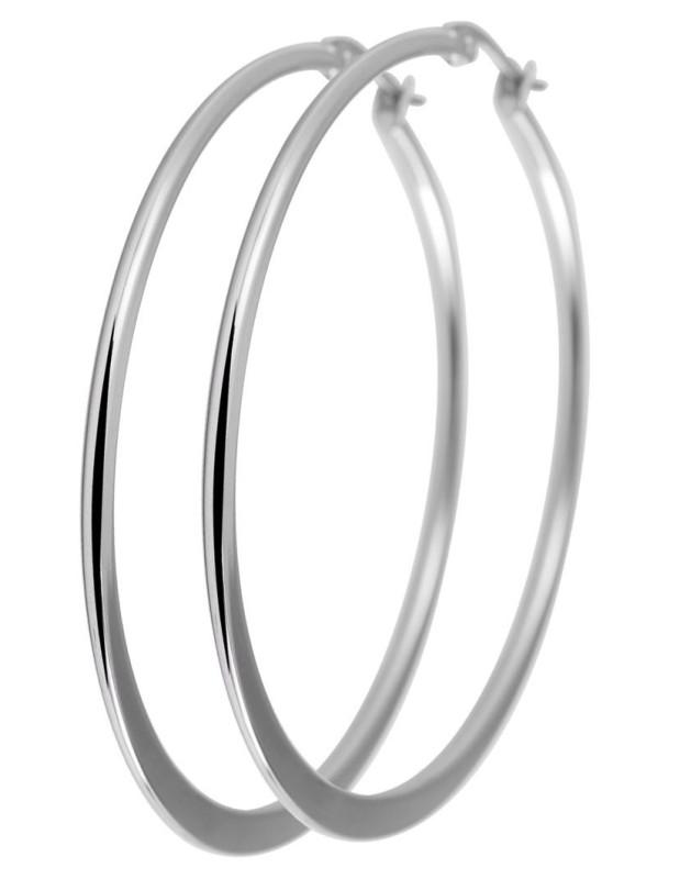 Hoop earrings 50mm from stainless steel FLAT O20140828