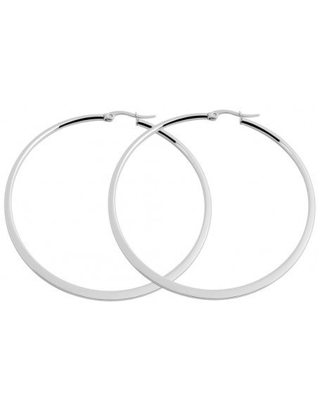 Hoop earrings 50mm from stainless steel FLAT O20140828