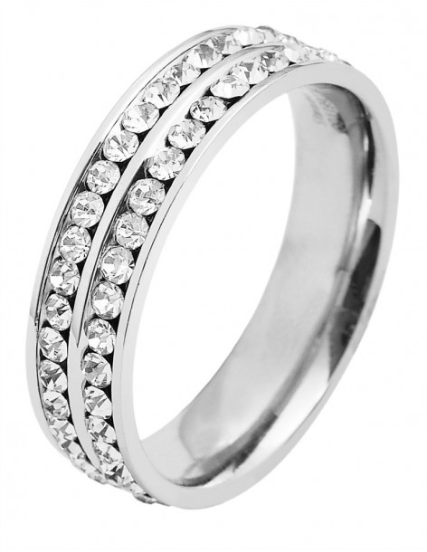 Ring with crystals of stainless steel PEEN