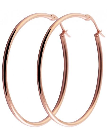 Σκουλαρίκια κρίκοι 65mm από ατσάλι ροζ χρυσό