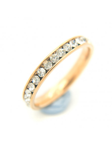 Women's ring with rhinestones from rose gold plated stainless steel SEIRA
