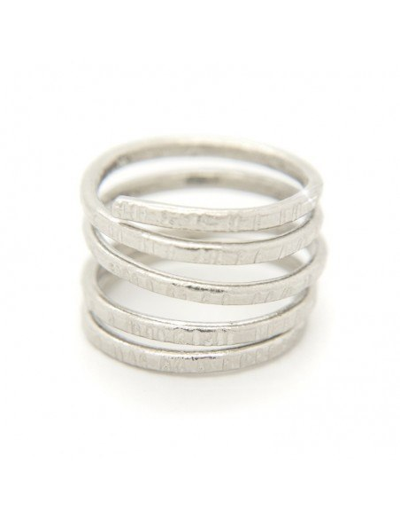 Ring in ancient greek style from hammered silver plated bronze RESE R20140729