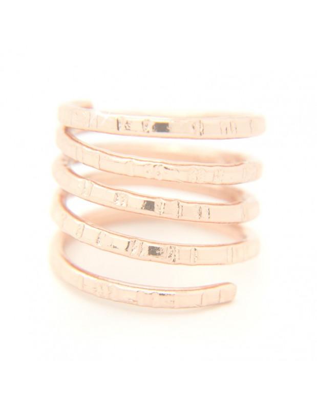 Δαχτυλίδι αρχαιοελληνικό από σφυρήλατο ροζ επίχρυσο μπρούτζο TERI R20140739