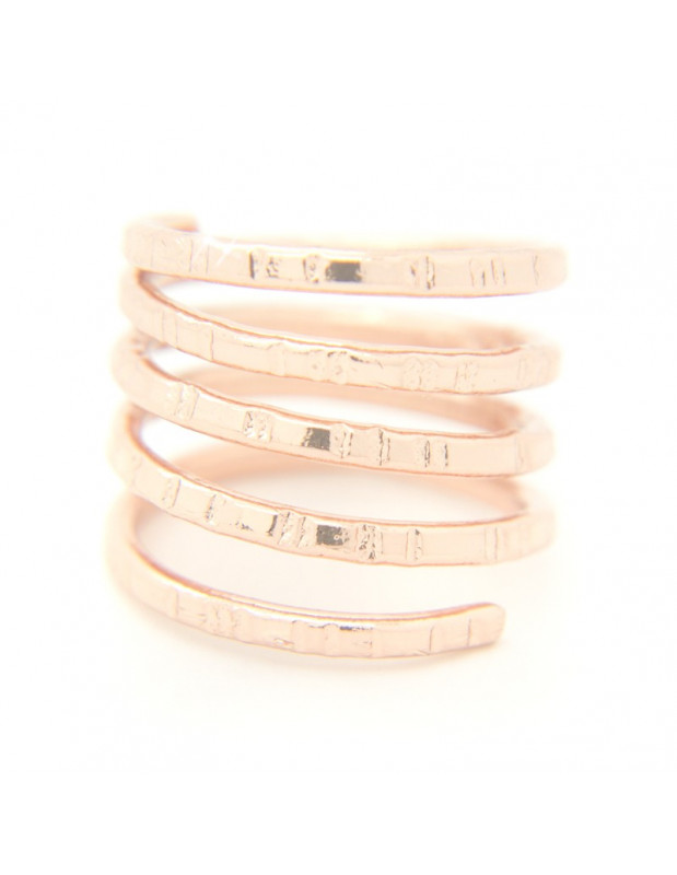 Ring in ancient greek style from hammered rose gold plated bronze TERI R20140739