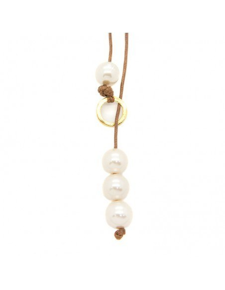 Long pearl necklace with brown leather cord URES