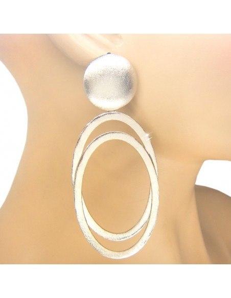 Αρχαιοελληνικά σκουλαρίκια από επάργυρο μπρούτζο OVAL O20140884