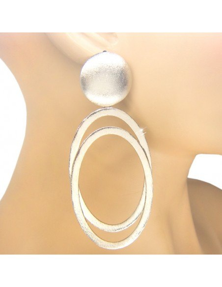 Large earrings from silver plated bronze OVAL O20140884
