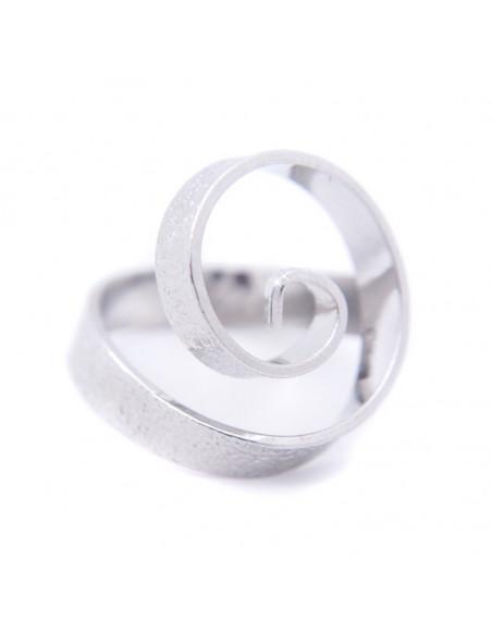 Ring in antikem griechischen Stil aus gehämmerter versilberter Bronze SPIRAL R20140746
