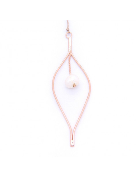 Long Necklace with pearl rosegold OZIR