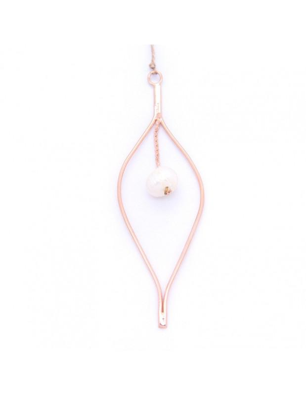 Μακριά Κολιέ με μαργαριτάρι ροζ χρυσό OZIR
