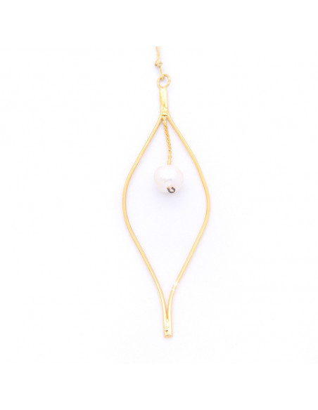 Long Necklace with pearl pendant gold OZIR