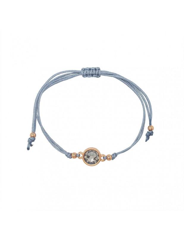 Stoff Armband mit Zirkonia Stein BLU