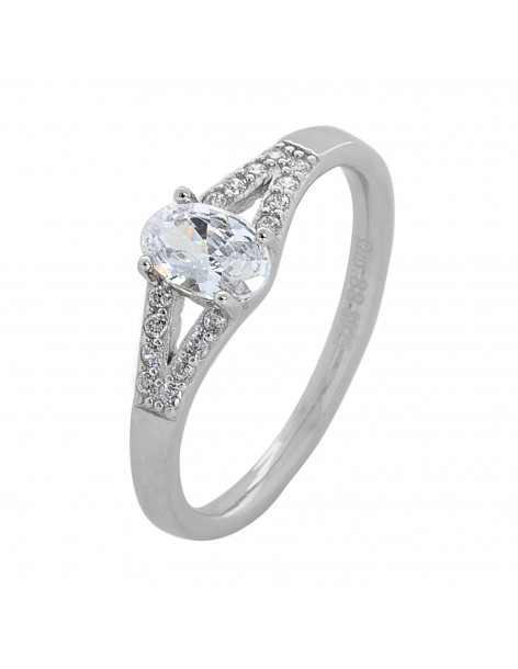 Solitaire ring made from sterling silver with zirconia stone KIO R20140764