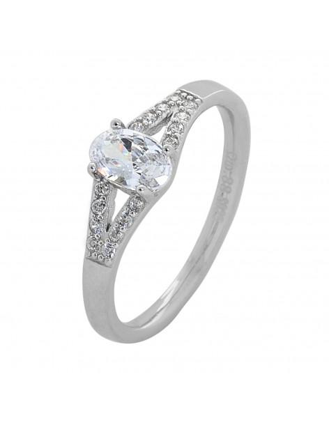 Solitär Ring aus Silber 925 mit Zirkonia Stein KIO R20140764