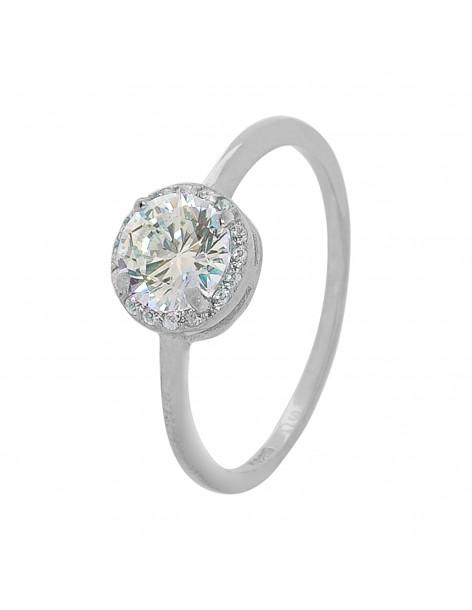 Solitär Ring aus Silber 925 mit Zirkon MIO