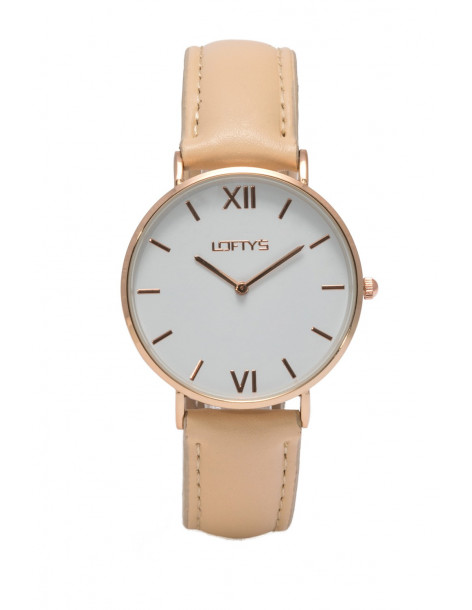 LOFTY'S Vintage Y3406-10 rose gold color with beige leather strap