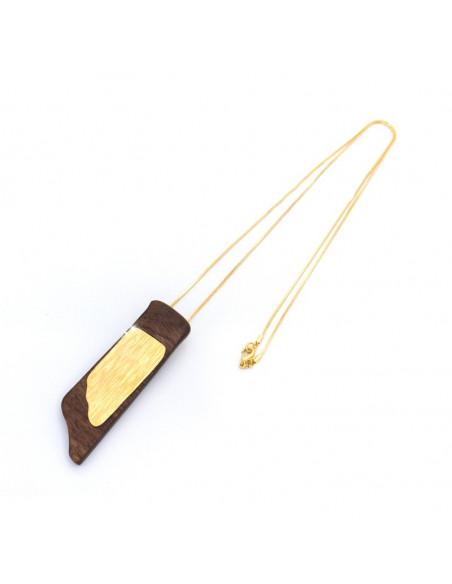 Κολιέ με μακριά αλυσίδα και χειροποίητο στοιχείο από ξύλο WOOD H20141086