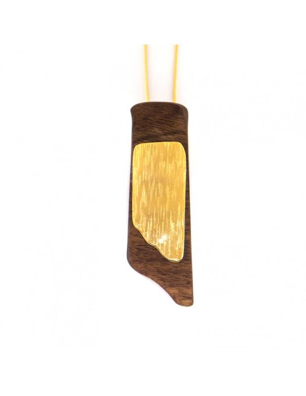 Lange Halskette mit handgefertigtem Holz Anhänger WOOD H20141086