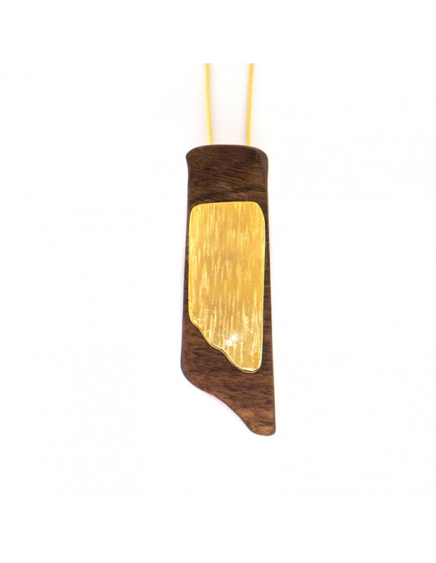 Necklace with long chain and handmade wood pendant WOOD H20141086