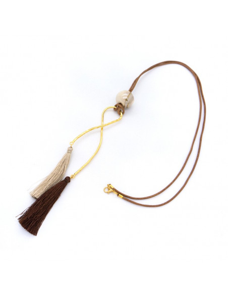 Long necklace with handmade tassel bronze pendant gold brown HIOP
