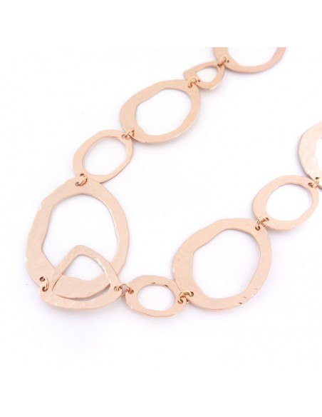 Statement necklace of bronze handmade rose gold LOOPS