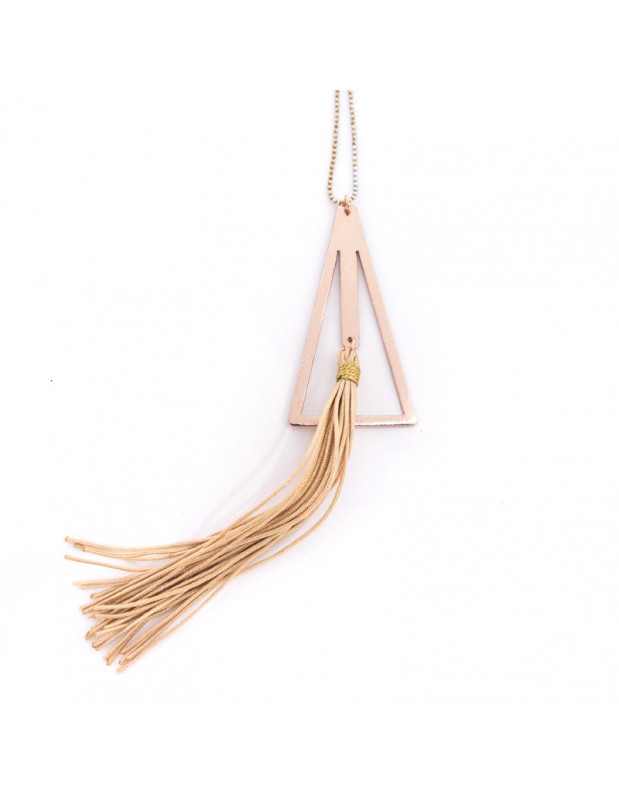 Necklace with long chain and handmade tassel bronze pendant TREO H20141093