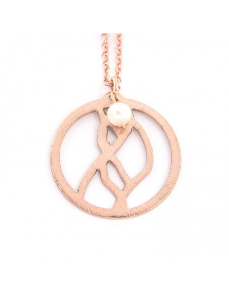 Long necklace with bronze element an pearl rose gold SARA