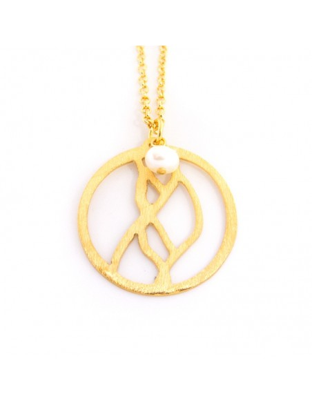 Long Necklace With Gold Bronze Element An Pearl Sara Bijou Box Shop