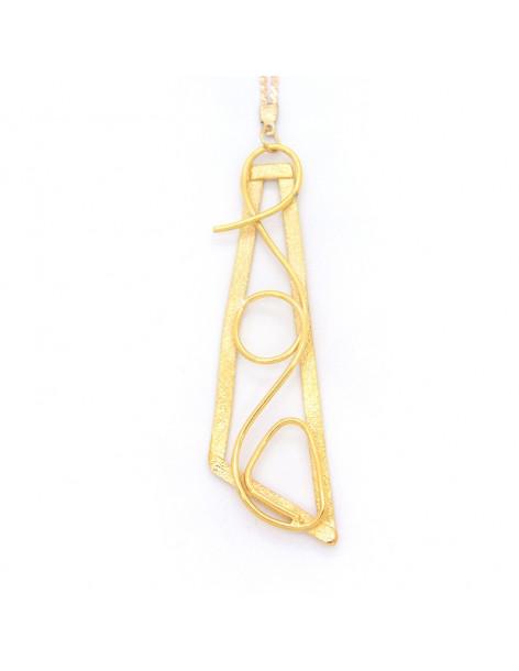 Lange Halskette mit Bronze Anhänger gold TRIP