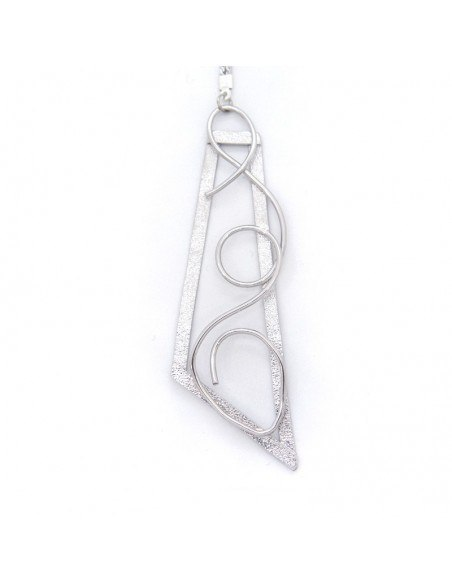 Long Necklace with bronze pendant silver TRIP