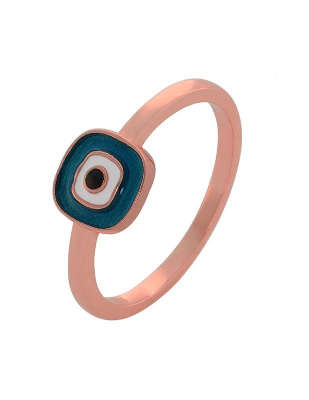 Δαχτυλίδι με ματάκι από ασήμι 925 ροζ χρυσό ΜΑΤΙO