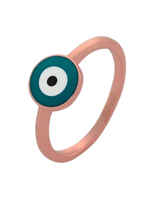 Δαχτυλίδι από ασήμι 925 με ματάκι ροζ χρυσό ΜΑΤΙRI