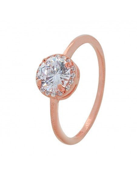 Solitaire ring of sterling silver with crystal rose gold MIO