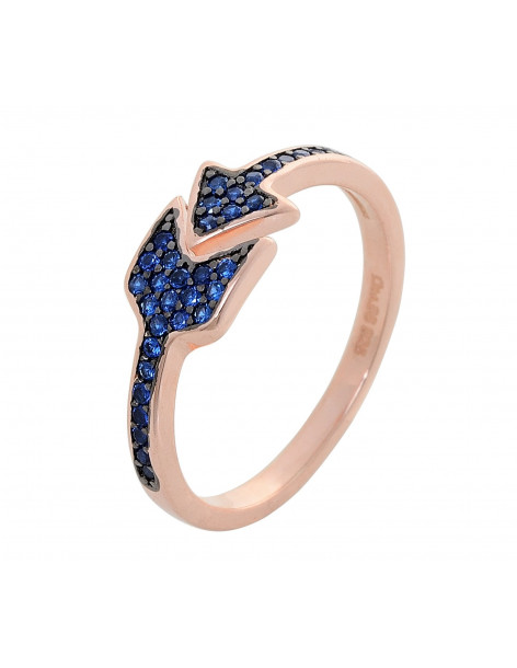Ring of sterling silver 925 with blue crystals rose gold ARROW