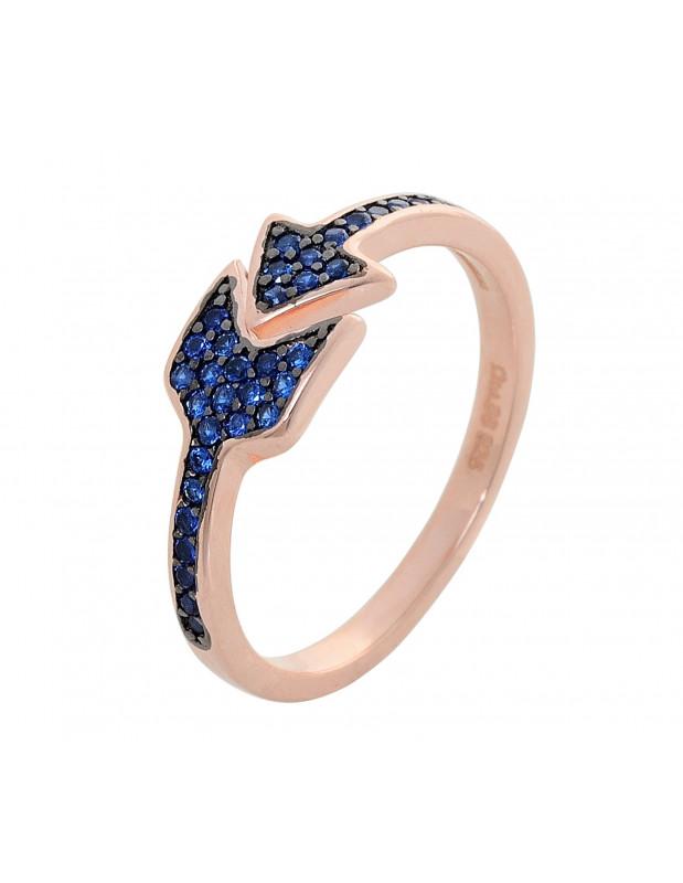 Silberring mit blauen Zirkonia Stein rosegold ARROW