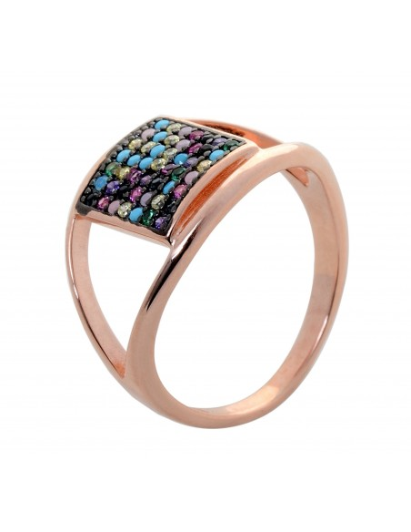 Ring of silver 925 rose gold with colorful zirconia stones QAT