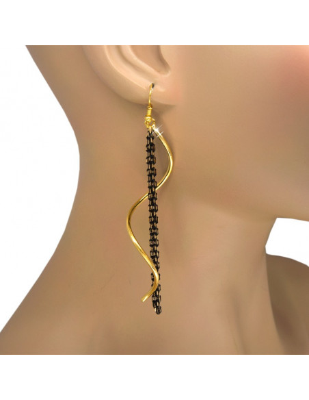 Long earrings from gold plated bronze and black chain ΑΙΟ O20140961