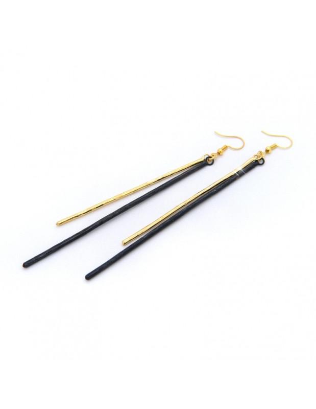 Long earrings of bronze handmade black gold STAB