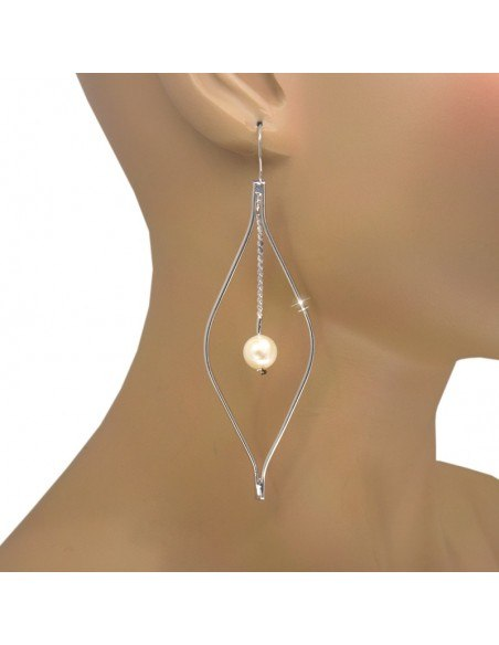 Große Perlen Ohrringe aus versilberter Bronze PER O20140980